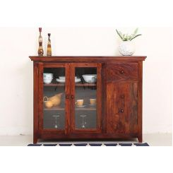 Earnville Kitchen Cabinet (Honey Finish)