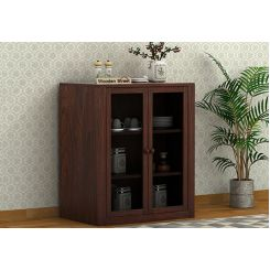 Leven Kitchen Cabinet (Walnut Finish)