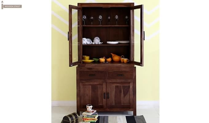 Prisma Kitchen Cabinet (Walnut Finish)-2