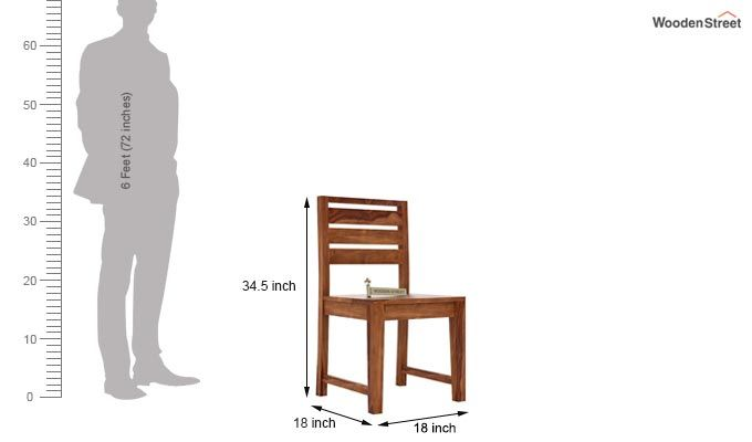 Zampa Dining Chair without Fabric (Teak Finish)-3