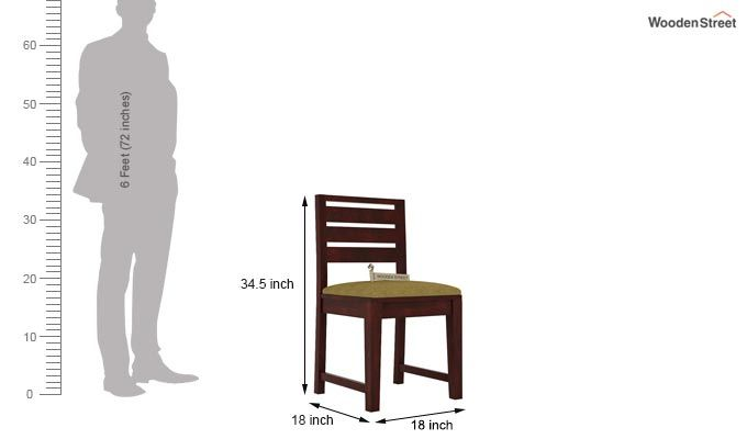 Zampa Dining Chair With Fabric (Mahogany Finish)-3