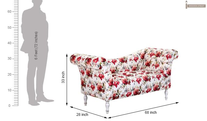 Bella Floral Chaise Lounge (Red Floral)-6