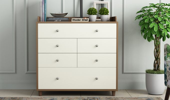 Gavin Chest of Drawer with Frosty White Drawer (Exotic Teak Finish)-2