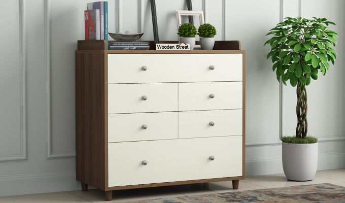 Gavin Chest of Drawer with Frosty White Drawer (Exotic Teak Finish)-1