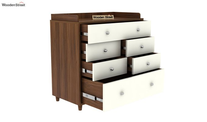 Gavin Chest of Drawer with Frosty White Drawer (Exotic Teak Finish)-5