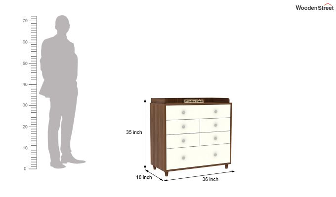 Gavin Chest of Drawer with Frosty White Drawer (Exotic Teak Finish)-6