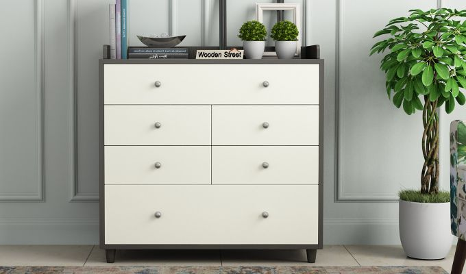 Gavin Chest of Drawer with Frosty White Drawer (Flowery Wenge Finish)-2