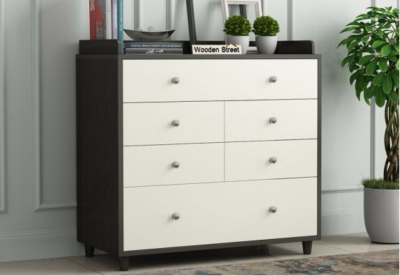 Modular Chest of Drawers with Frosty White Drawer (Flowery Wenge Finish)