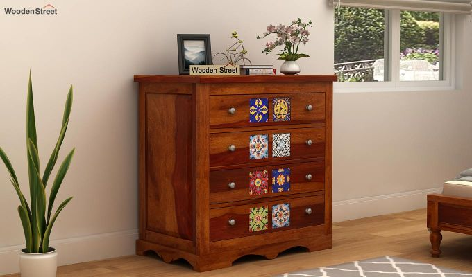 Boho Chest of Drawers (Honey Finish)-1