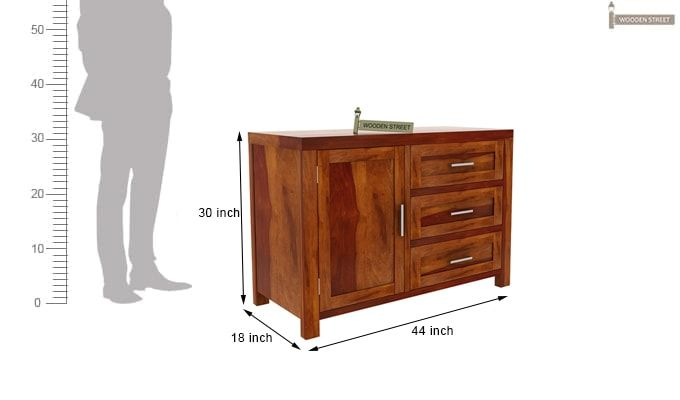 Chevron Chest of Drawers (Honey Finish)-7