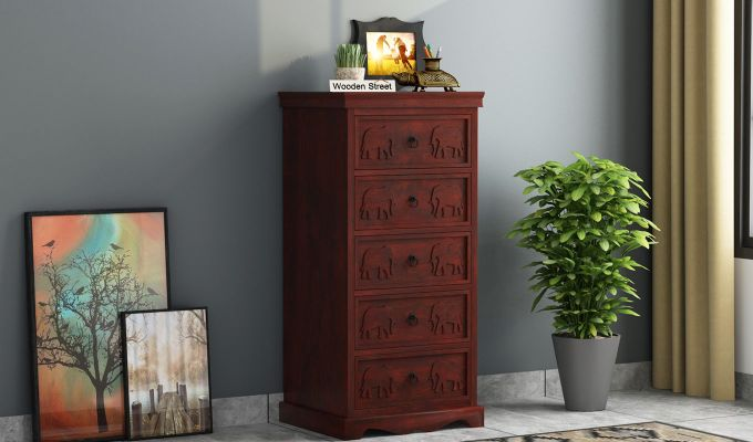 Emboss Chest of Five Drawers (Mahogany Finish)-1