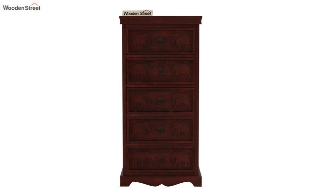 Emboss Chest of Five Drawers (Mahogany Finish)-3