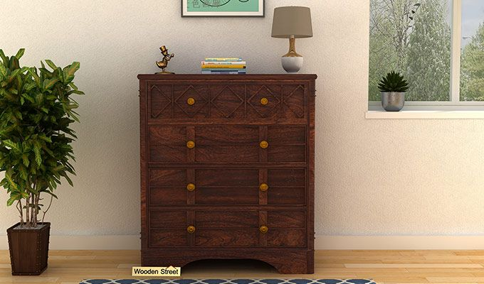 Swirl Chest of Drawers (Walnut Finish)-1