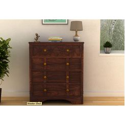 Swirl Chest Of Drawers (Walnut Finish)