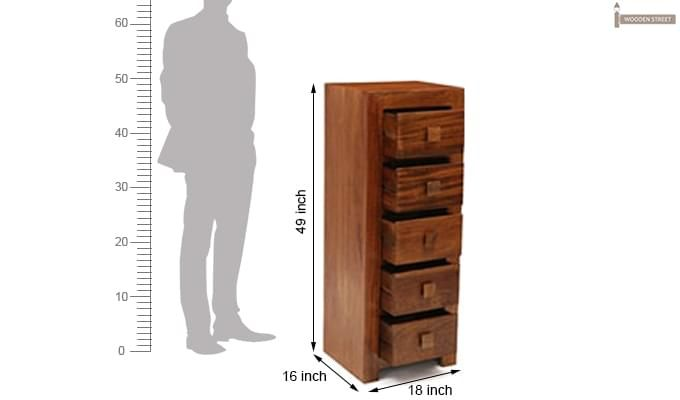 Turbo Cabinet Of Drawers (Teak Finish)-9