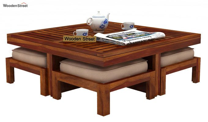 Dallas Coffee Table With Stools (Honey Finish)-2