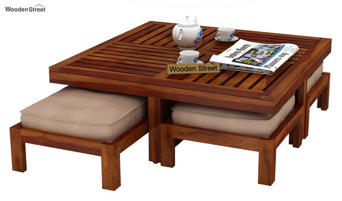 Dallas Coffee Table With Stools (Honey Finish)-3