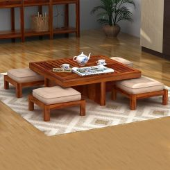 Dallas Coffee Table With Stools (Honey Finish)