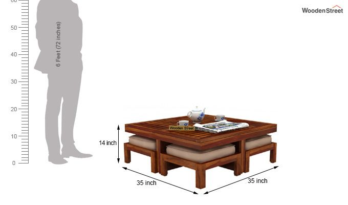 Dallas Coffee Table With Stools (Honey Finish)-6