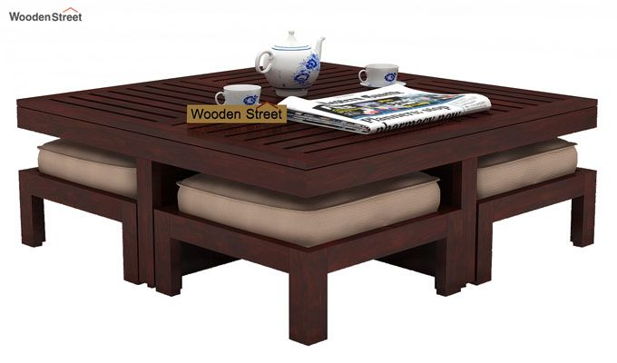 Dallas Coffee Table With Stools (Mahogany Finish)-1