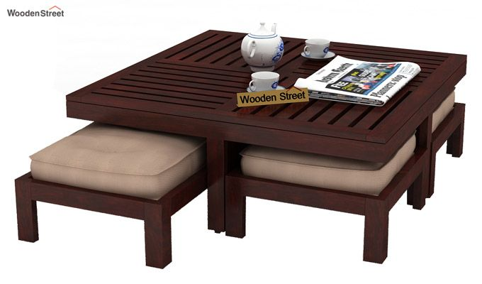 Dallas Coffee Table With Stools (Mahogany Finish)-2