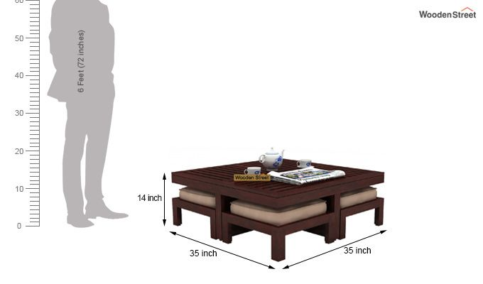 Dallas Coffee Table With Stools (Mahogany Finish)-6