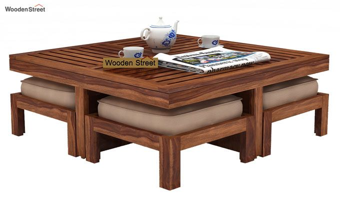 Dallas Coffee Table With Stools (Teak Finish)-1