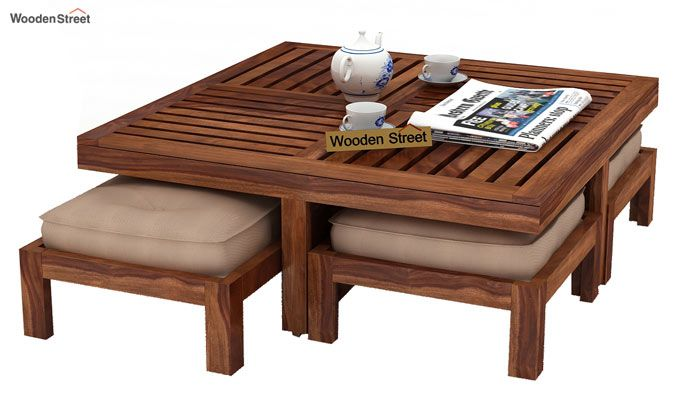 Dallas Coffee Table With Stools (Teak Finish)-2