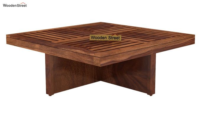 Dallas Coffee Table With Stools (Teak Finish)-3