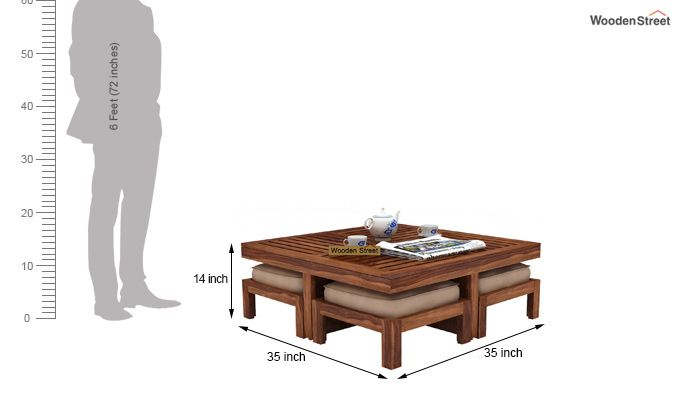 Dallas Coffee Table With Stools (Teak Finish)-6