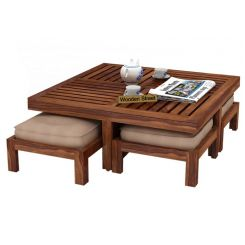 Dallas Coffee Table With Stools (Teak Finish)