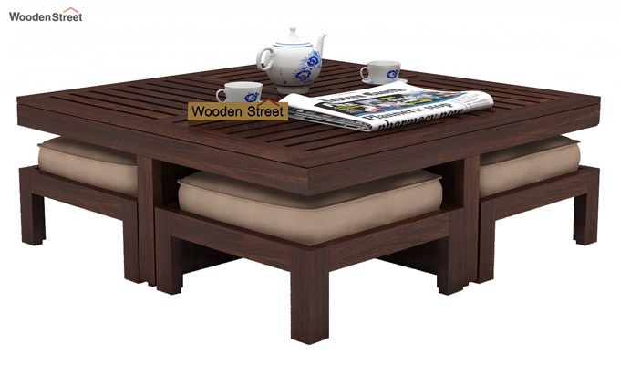 Dallas Coffee Table With Stools (Walnut Finish)-1