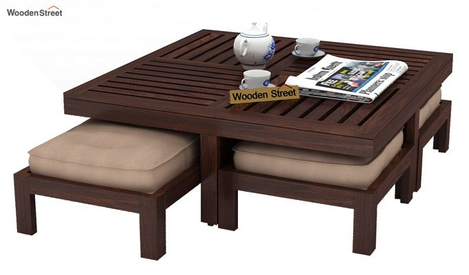 Dallas Coffee Table With Stools (Walnut Finish)-2