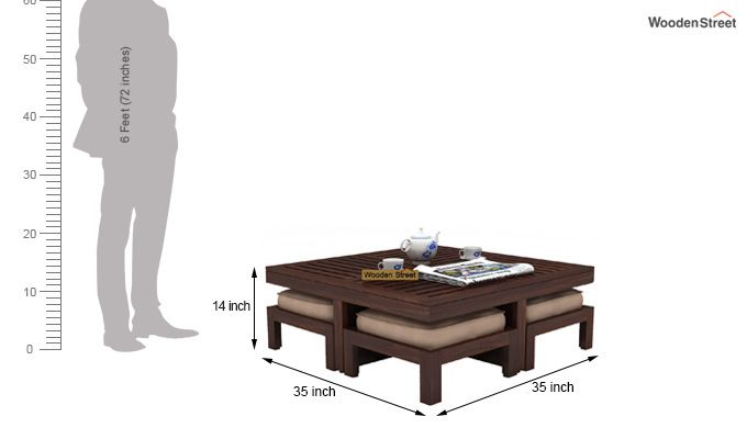 Dallas Coffee Table With Stools (Walnut Finish)-6