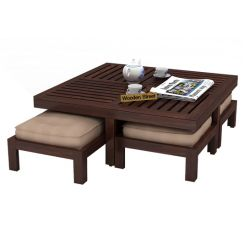 Dallas Coffee Table With Stools (Walnut Finish)