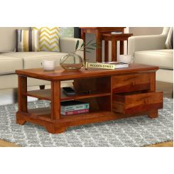 Dempsie 4 Drawer Center Table (Honey Finish)