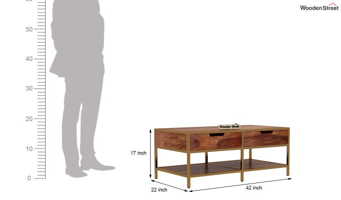Draco Coffee Table (Teak Finish)-7