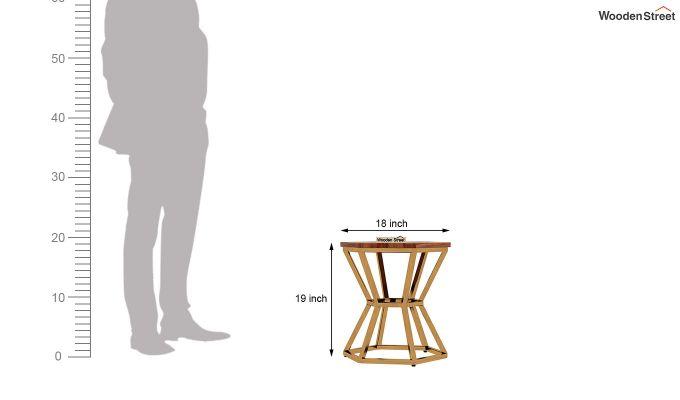 Drome Side End Table (Teak Finish)-5