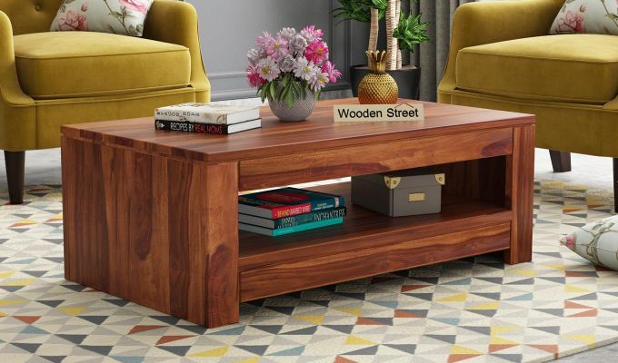 Fager Coffee Table (Honey Finish)-1