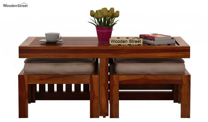 Farrow Center Table With Stools (Honey Finish)-2
