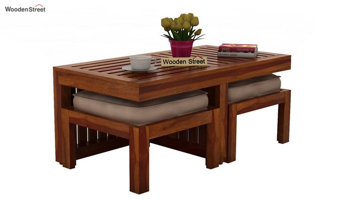 Buy Farrow Center Table With Stools Honey Finish Online