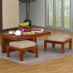 Farrow Center Table With Stools (Honey Finish)