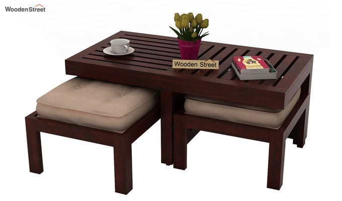 Farrow Center Table With Stools (Mahogany Finish)-1