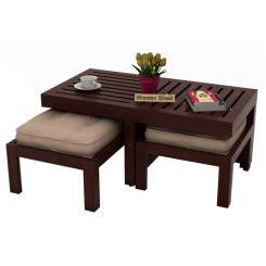 Farrow Center Table With Stools (Mahogany Finish)