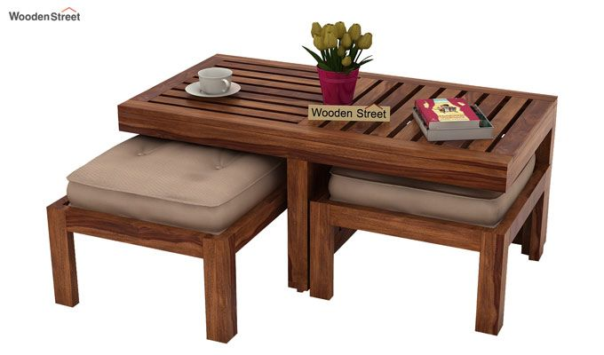 Farrow Center Table With Stools (Teak Finish)-1