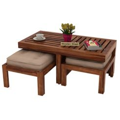 Farrow Center Table With Stools (Teak Finish)