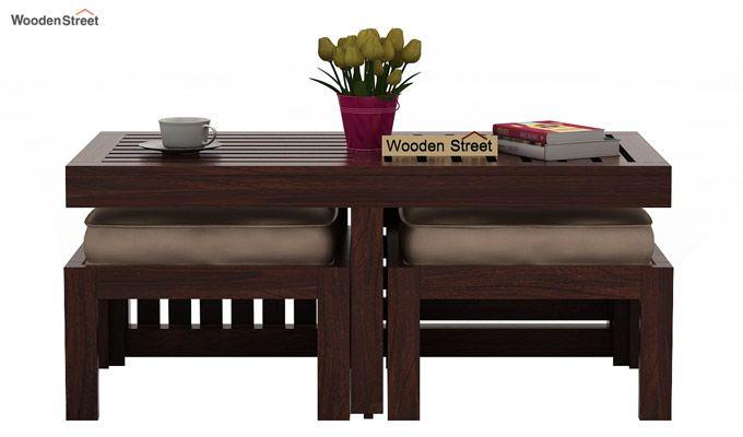 Farrow Center Table With Stools (Walnut Finish)-2