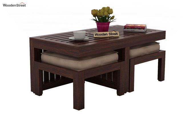 Farrow Center Table With Stools (Walnut Finish)-3