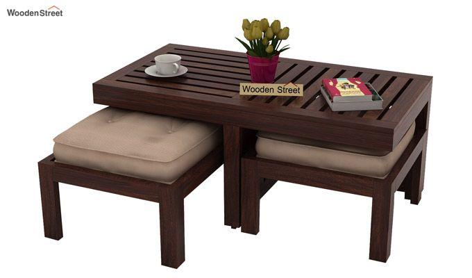 Farrow Center Table With Stools (Walnut Finish)-1