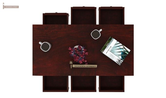 Maisie 6 Drawer Tea Table (Mahogany Finish)-3